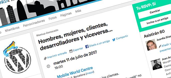 Hombres, mujeres, clientes, desarrolladores y viceversa en la Meetup de WordPress Barcelona