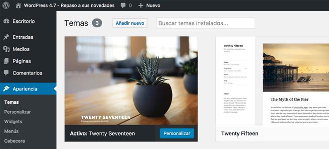 Nueva tema por defecto Twenty Seventeen en WordPress 47