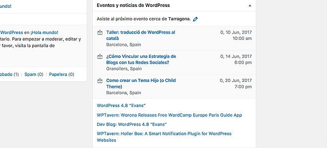 Widget de Eventos y Noticias