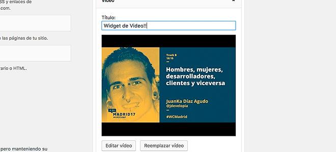 Widget de Vídeo en WordPress 4.8