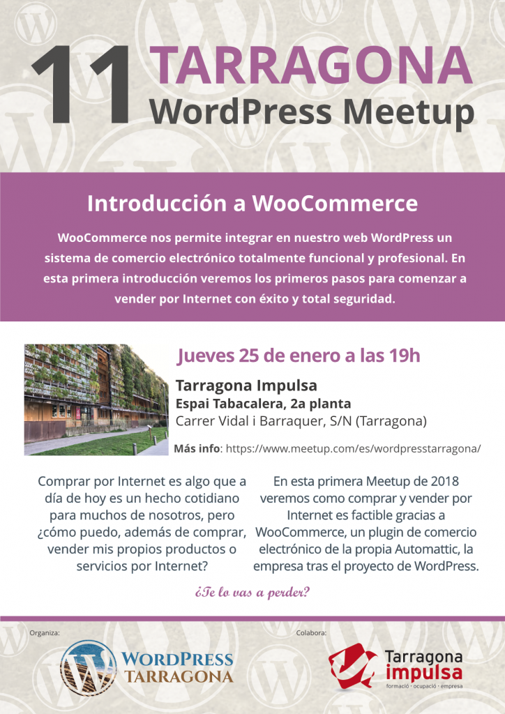 Cartel 11a Meetup de WordPress Tarragona, Introducción a WooCommerce