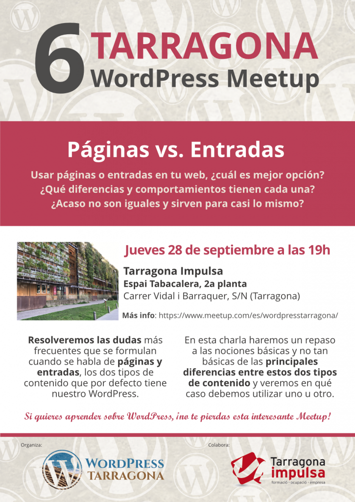 Páginas Vs Entradas en WordPress cartel de la Meetup
