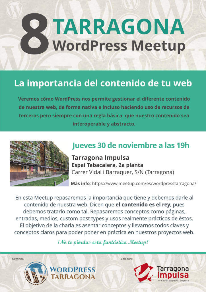 8a Meetup, la importancia del contenido en tu web